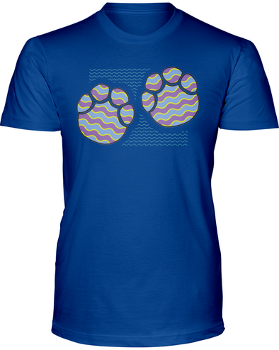 Elephant Footprints T-Shirt - Design 3 - Hthr True Royal / S - Clothing elephants womens t-shirts