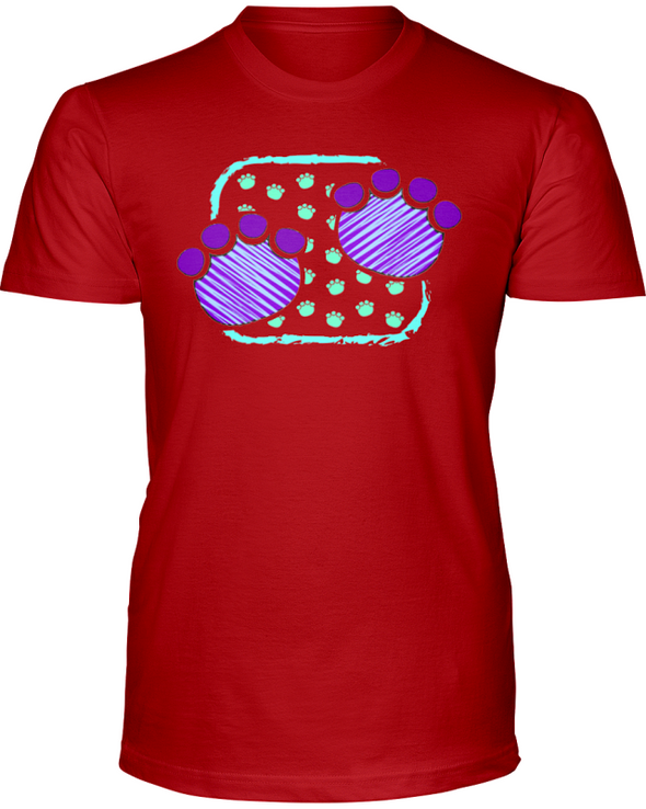 Elephant Footprints T-Shirt - Design 4 - Red / S - Clothing elephants womens t-shirts