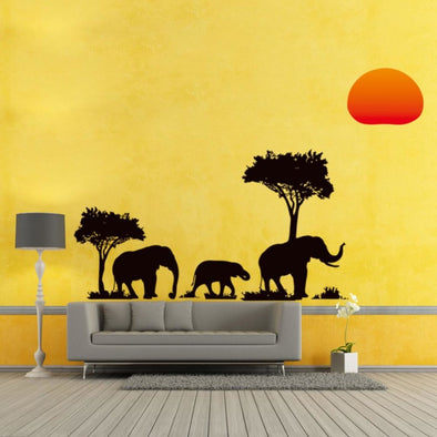 Elephant Jungle & Sunset Wall Sticker - Wall Art Elephants Trees Wall Stickers
