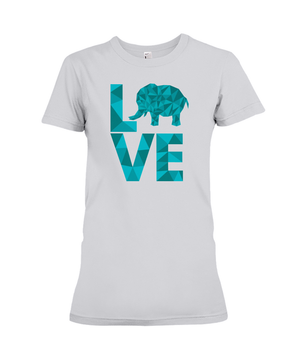 Elephant Love T-Shirt - Aqua - Athletic Heather / S - Clothing elephants womens t-shirts