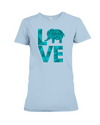 Elephant Love T-Shirt - Aqua - Baby Blue / S - Clothing elephants womens t-shirts