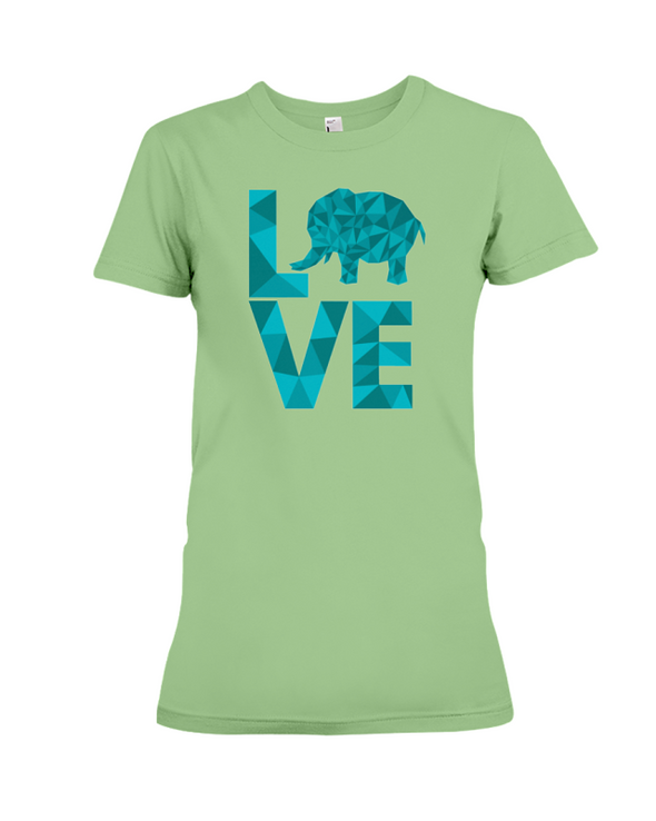 Elephant Love T-Shirt - Aqua - Heather Green / S - Clothing elephants womens t-shirts
