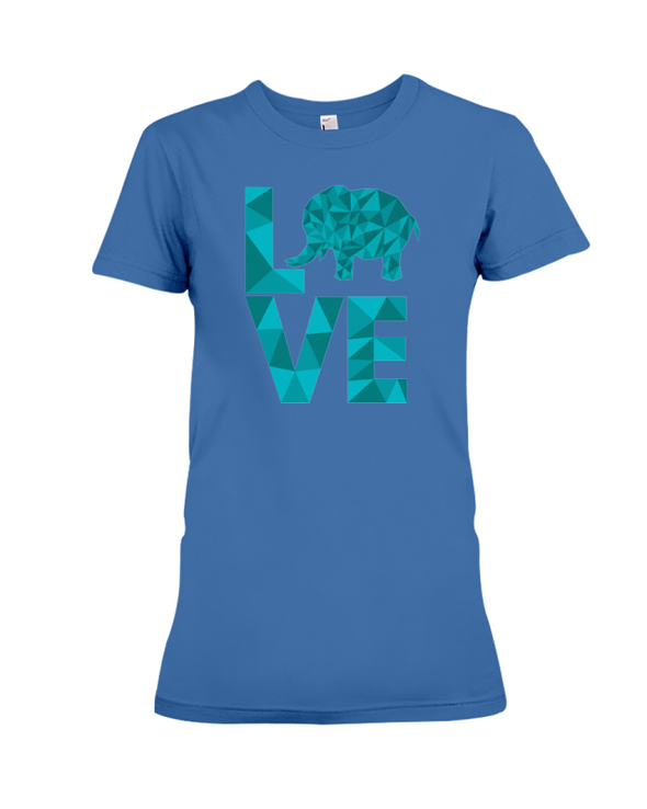 Elephant Love T-Shirt - Aqua - Hthr True Royal / S - Clothing elephants womens t-shirts