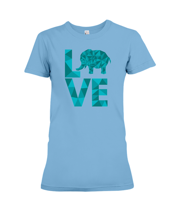 Elephant Love T-Shirt - Aqua - Ocean Blue / S - Clothing elephants womens t-shirts