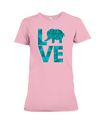 Elephant Love T-Shirt - Aqua - Pink / S - Clothing elephants womens t-shirts