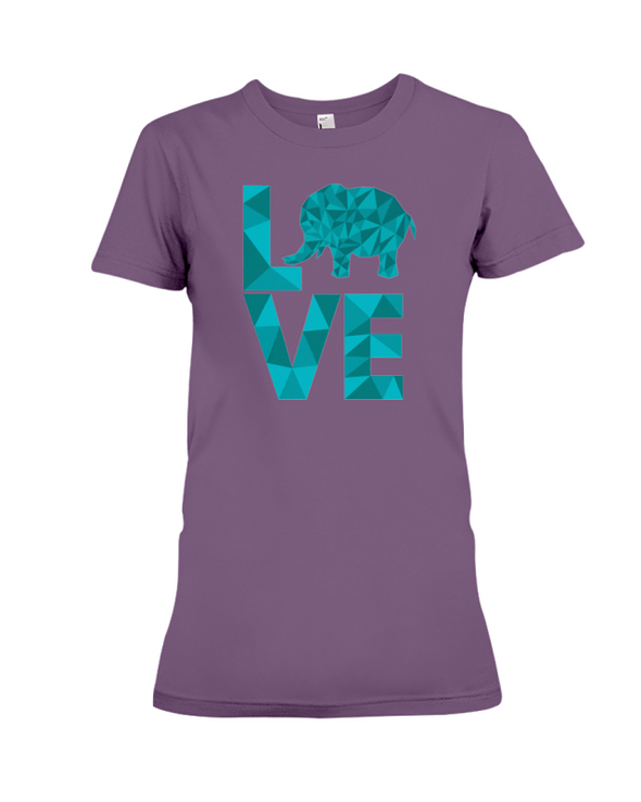 Elephant Love T-Shirt - Aqua - Team Purple / S - Clothing elephants womens t-shirts