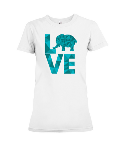Elephant Love T-Shirt - Aqua - White / S - Clothing elephants womens t-shirts