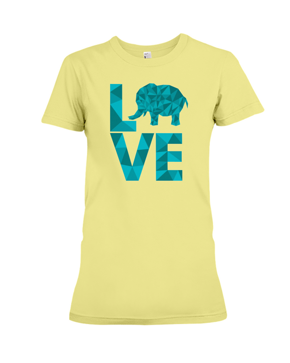 Elephant Love T-Shirt - Aqua - Yellow / S - Clothing elephants womens t-shirts
