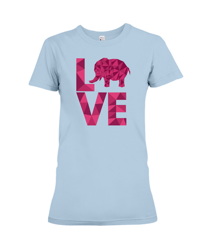 Elephant Love T-Shirt - Hot Pink - Baby Blue / S - Clothing elephants womens t-shirts
