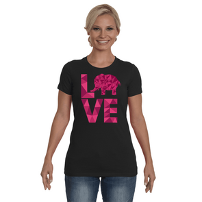 Elephant Love T-Shirt - Hot Pink - Clothing elephants womens t-shirts