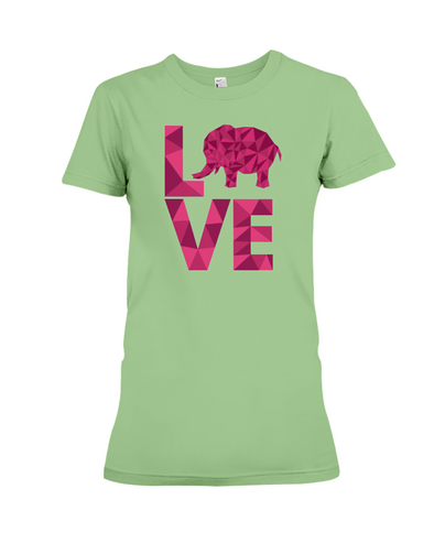 Elephant Love T-Shirt - Hot Pink - Heather Green / S - Clothing elephants womens t-shirts