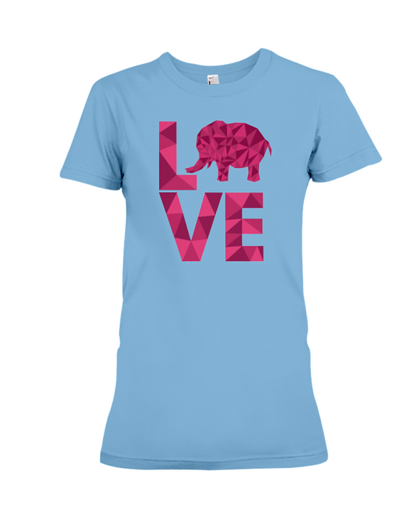 Elephant Love T-Shirt - Hot Pink - Ocean Blue / S - Clothing elephants womens t-shirts