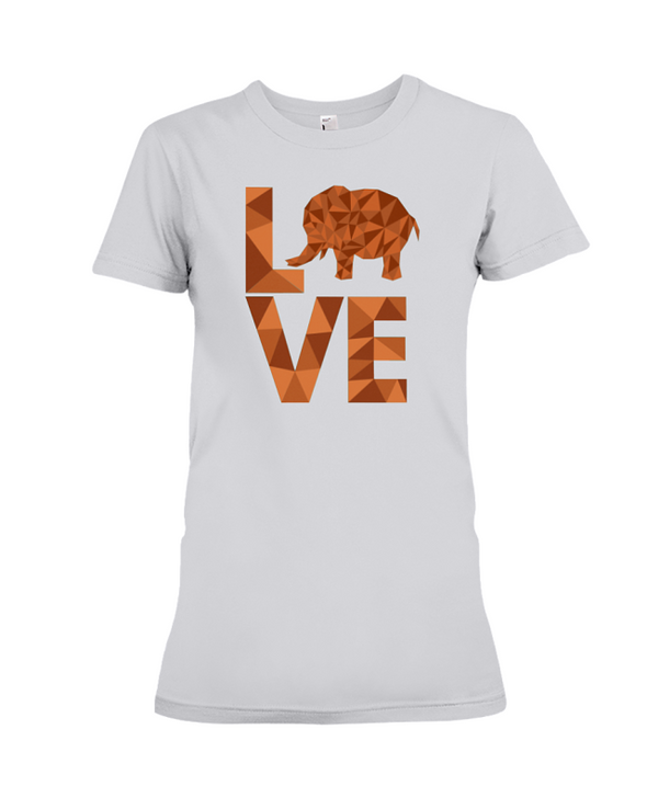 Elephant Love T-Shirt - Orange - Athletic Heather / S - Clothing elephants womens t-shirts
