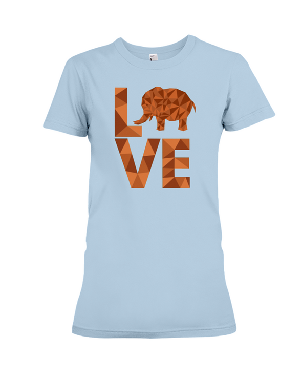 Elephant Love T-Shirt - Orange - Baby Blue / S - Clothing elephants womens t-shirts