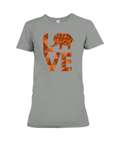 Elephant Love T-Shirt - Orange - Deep Heather / S - Clothing elephants womens t-shirts