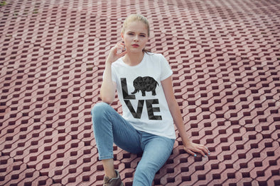 Elephant Love T-Shirt - Orange - Clothing elephants womens t-shirts