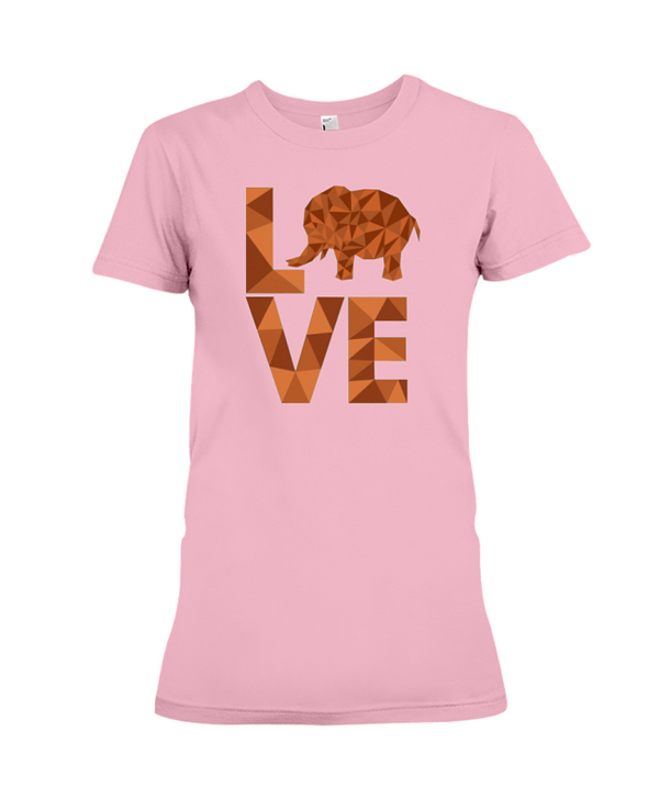 Elephant Love T-Shirt - Orange - Pink / S - Clothing elephants womens t-shirts