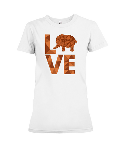 Elephant Love T-Shirt - Orange - White / S - Clothing elephants womens t-shirts