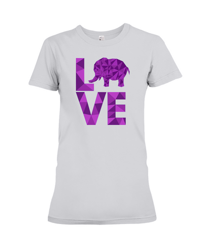 Elephant Love T-Shirt - Purple - Athletic Heather / S - Clothing elephants womens t-shirts