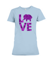 Elephant Love T-Shirt - Purple - Baby Blue / S - Clothing elephants womens t-shirts