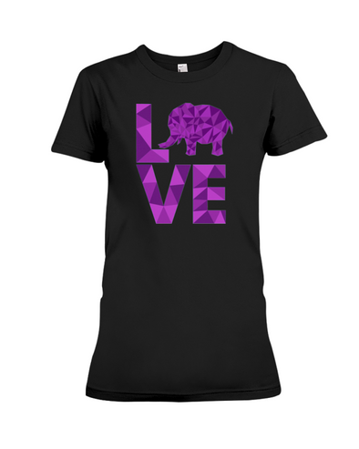 Elephant Love T-Shirt - Purple - Black / S - Clothing elephants womens t-shirts