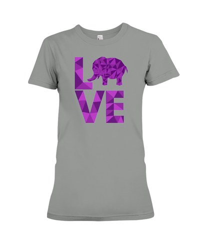 Elephant Love T-Shirt - Purple - Deep Heather / S - Clothing elephants womens t-shirts