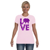 Elephant Love T-Shirt - Purple - Clothing elephants womens t-shirts