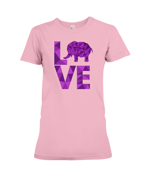 Elephant Love T-Shirt - Purple - Pink / S - Clothing elephants womens t-shirts