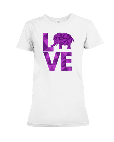 Elephant Love T-Shirt - Purple - White / S - Clothing elephants womens t-shirts