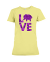Elephant Love T-Shirt - Purple - Yellow / S - Clothing elephants womens t-shirts