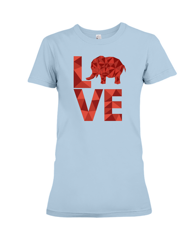 Elephant Love T-Shirt - Red - Baby Blue / S - Clothing elephants womens t-shirts