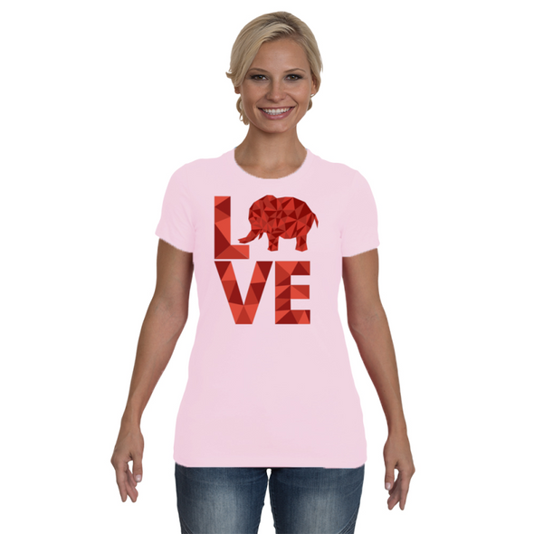 Elephant Love T-Shirt - Red - Clothing elephants womens t-shirts