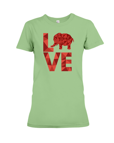 Elephant Love T-Shirt - Red - Heather Green / S - Clothing elephants womens t-shirts
