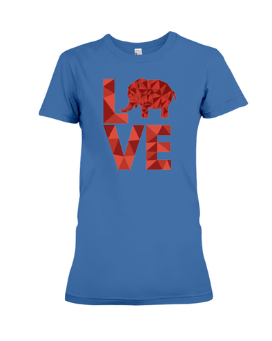 Elephant Love T-Shirt - Red - Hthr True Royal / S - Clothing elephants womens t-shirts