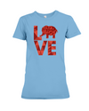 Elephant Love T-Shirt - Red - Ocean Blue / S - Clothing elephants womens t-shirts