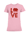 Elephant Love T-Shirt - Red - Pink / S - Clothing elephants womens t-shirts