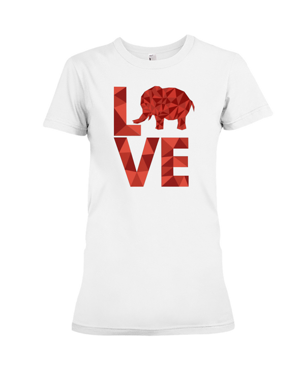 Elephant Love T-Shirt - Red - White / S - Clothing elephants womens t-shirts