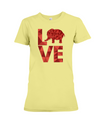 Elephant Love T-Shirt - Red - Yellow / S - Clothing elephants womens t-shirts