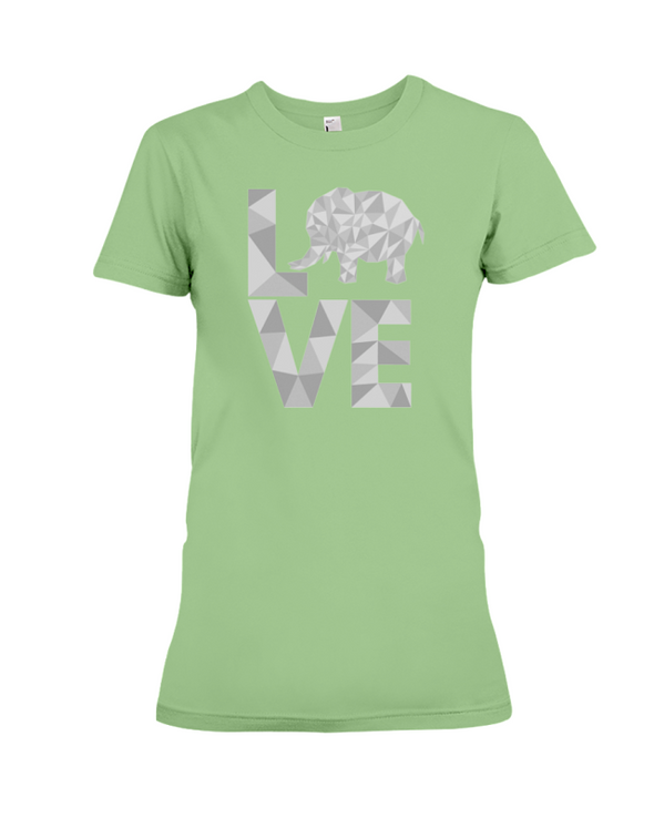 Elephant Love T-Shirt - White - Heather Green / S - Clothing elephants womens t-shirts