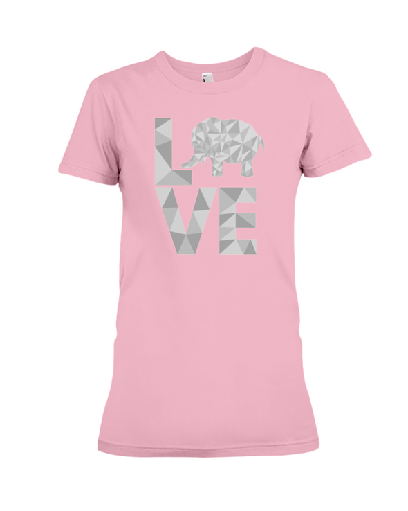 Elephant Love T-Shirt - White - Pink / S - Clothing elephants womens t-shirts