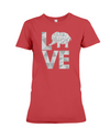 Elephant Love T-Shirt - White - Red / S - Clothing elephants womens t-shirts