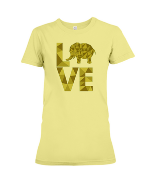 Elephant Love T-Shirt - Yellow - Clothing elephants womens t-shirts