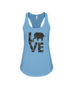 Elephant Love Tank-Top - Black - Ocean Blue / S - Clothing elephants womens t-shirts