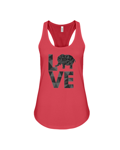 Elephant Love Tank-Top - Black - Red / S - Clothing elephants womens t-shirts