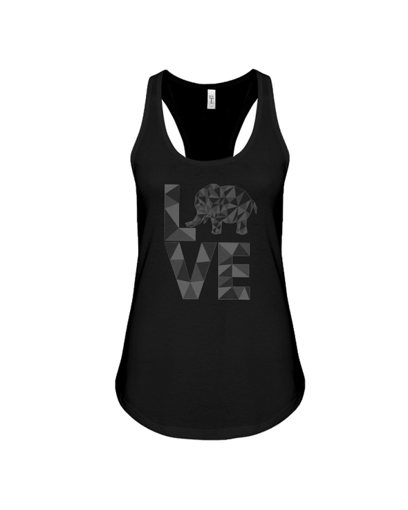 Elephant Love Tank-Top - Black - Black / S - Clothing elephants womens t-shirts