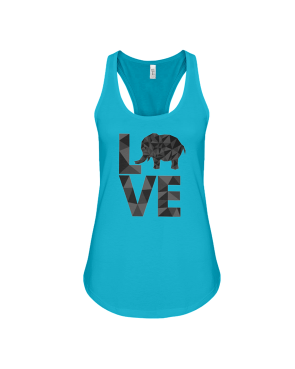 Elephant Love Tank-Top - Black - Turquoise / S - Clothing elephants womens t-shirts
