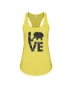 Elephant Love Tank-Top - Black - Yellow / S - Clothing elephants womens t-shirts