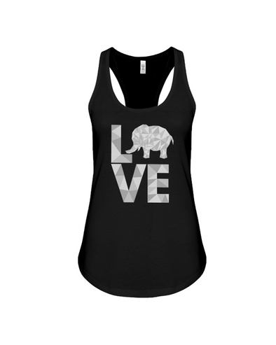 Elephant Love Tank-Top - Gray - Black / S - Clothing elephants womens t-shirts