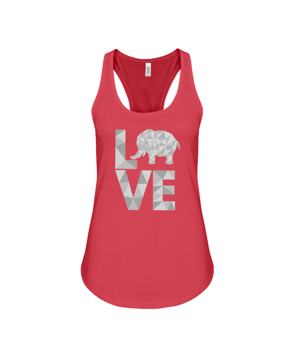 Elephant Love Tank-Top - Gray - Red / S - Clothing elephants womens t-shirts