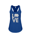 Elephant Love Tank-Top - Gray - True Royal / S - Clothing elephants womens t-shirts